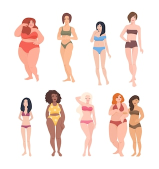 Coleção de lindas mulheres de diferentes raças, alturas e tipos de figura vestidas em trajes de banho