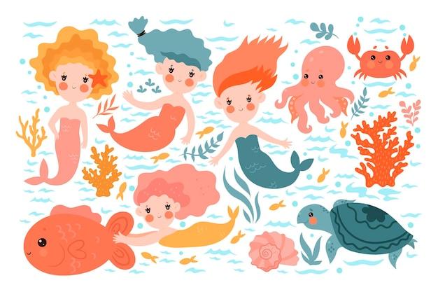 Coleção de lindas sereias e animais marinhos