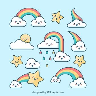 Coleção de lindo arco-íris em diferentes formas