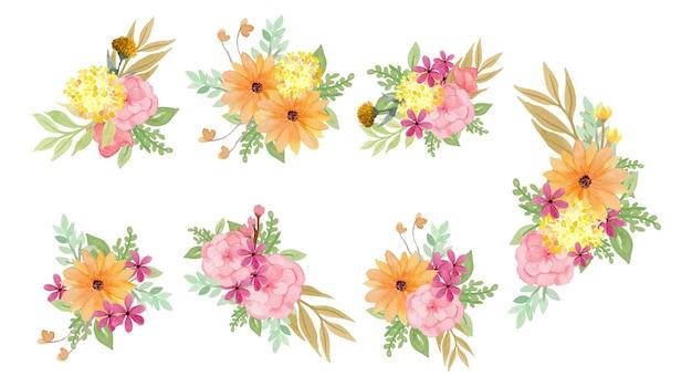 Coleção de lindo buquê de flores em aquarela
