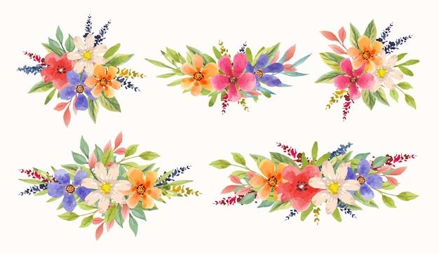 Coleção de lindos arranjos de flores coloridas em aquarela