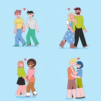 Coleção de lindos casais diferentes ilustrados