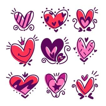 Coleção de lindos corações desenhados