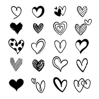 Coleção de lindos corações rabiscados