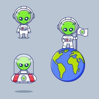 Coleção de lindos designs alienígenas