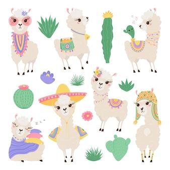 Coleção de lindos lamas e cactos em tons pastel. animais engraçados do bebê. Vetor Premium