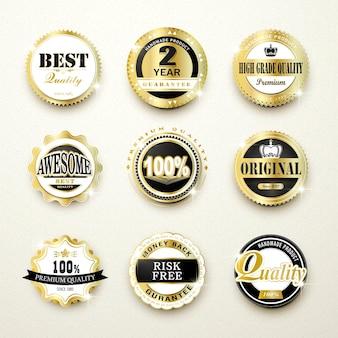 Coleção de lindos rótulos dourados de qualidade premium sobre bege