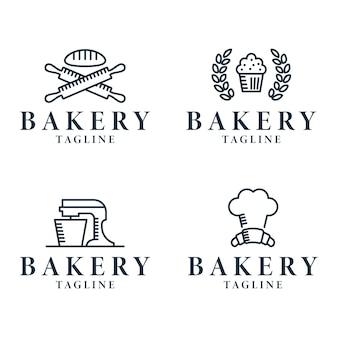 Coleção de linha de logotipo de padaria minimalista