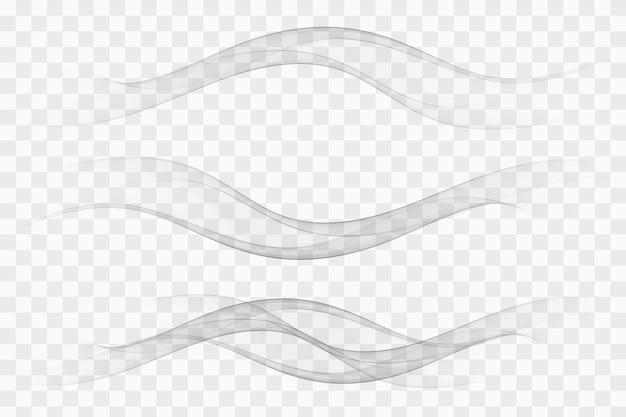 Coleção de linhas de fluxo gradiente de fumaça macia futurista moderna.