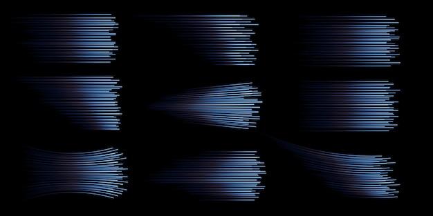 Coleção de linhas de velocidade azuis isoladas luz azul luz elétrica efeito de luz png