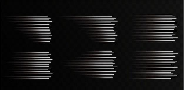 Coleção de linhas de velocidade brancas isoladas luz branca luz elétrica efeito de luz png