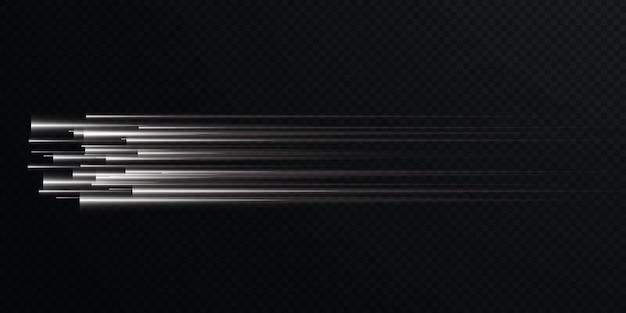 Coleção de linhas de velocidade da luz isoladas de luz branca com efeito de luz elétrica png,