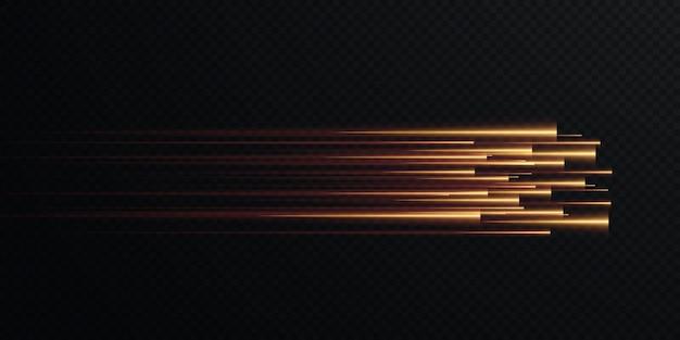 Coleção de linhas de velocidade de ouro isoladas luz de ouro luz elétrica efeito de luz png curva de ouro.