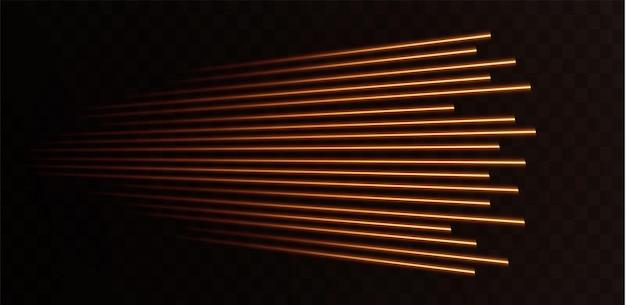 Coleção de linhas de velocidade de ouro isoladas luz dourada luz elétrica efeito png