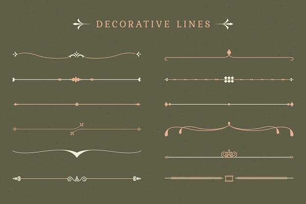 Coleção de linhas decorativas vintage