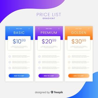 Coleção de lista de preços gradiente