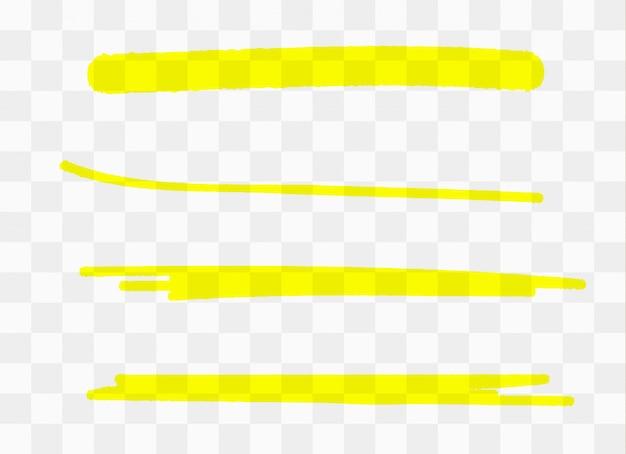 Coleção de listras de marcador amarelo desenhado