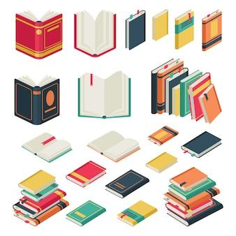 Coleção de livros. conjunto de livros abertos e fechados para o conjunto de revistas de livros didáticos do dicionário de publicação da biblioteca escolar