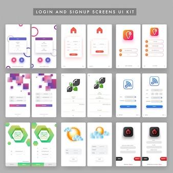 Coleção de login e telas de inscrição projeto