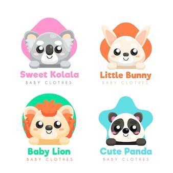 Coleção de logo de bebê com animais