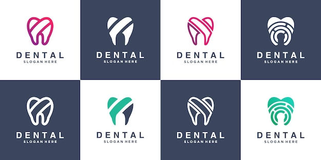 Coleção de logo dental com design moderno premium vector