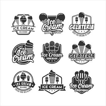 Coleção de logo design de sorvete premium