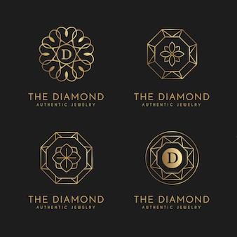 Coleção de logo gradiente de joias douradas