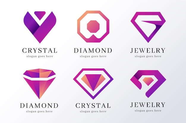 Coleção de logo gradiente de joias