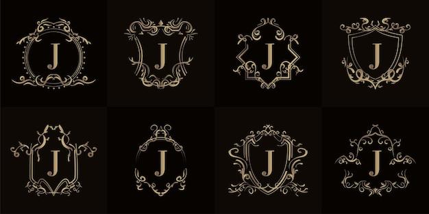 Coleção de logo inicial j com ornamento de luxo