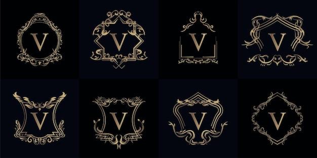 Coleção de logo inicial v com ornamento de luxo ou moldura de flor