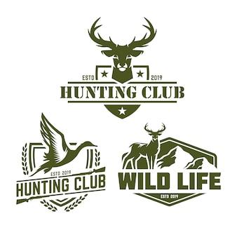 Coleção de logo pack de caça