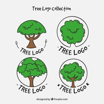 Coleção de logos de árvores em estilo desenhado a mão