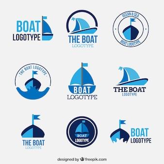 Coleção de logos de barco em design plano