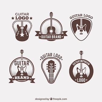 Coleção de logos de guitarra em estilo vintage