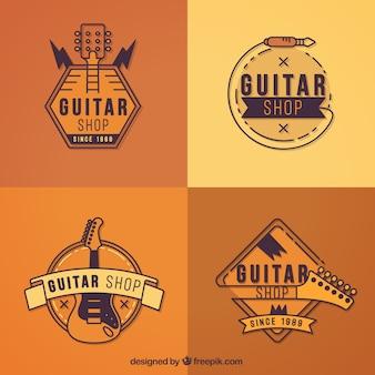 Coleção de logos de guitarra em tons de laranja