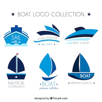 Coleção de logos do barco em tons azuis