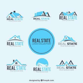 Coleção de logos imobiliários azuis