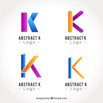 Coleção de logotipo abstrato da letra k