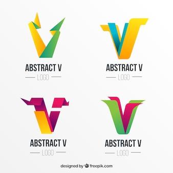 Coleção de logotipo abstrato da letra v