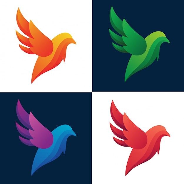 Coleção de logotipo abstrato de silhueta colorida de aves