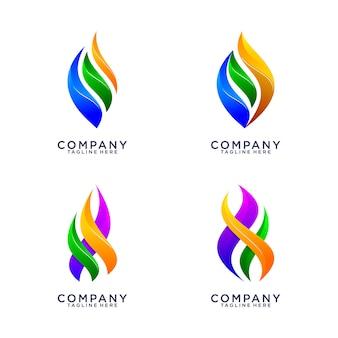 Coleção de logotipo abstrato fogo