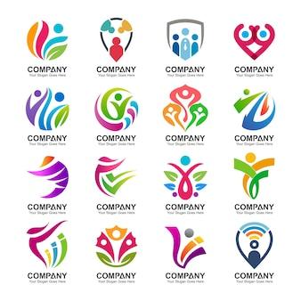 Coleção de logotipo abstrato pessoas