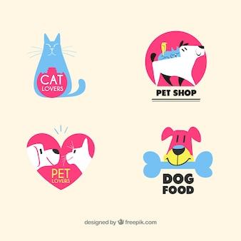 Coleção de logotipo adorável loja de animais