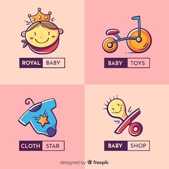 Coleção de logotipo adorável loja de bebê