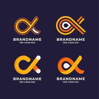 Coleção de logotipo alfa plano