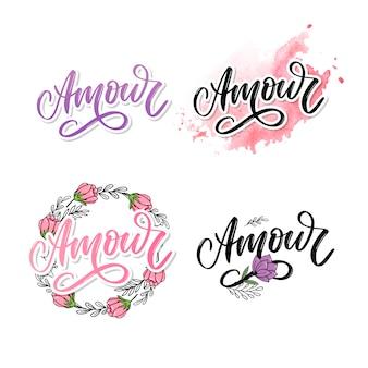 Coleção de logotipo amour
