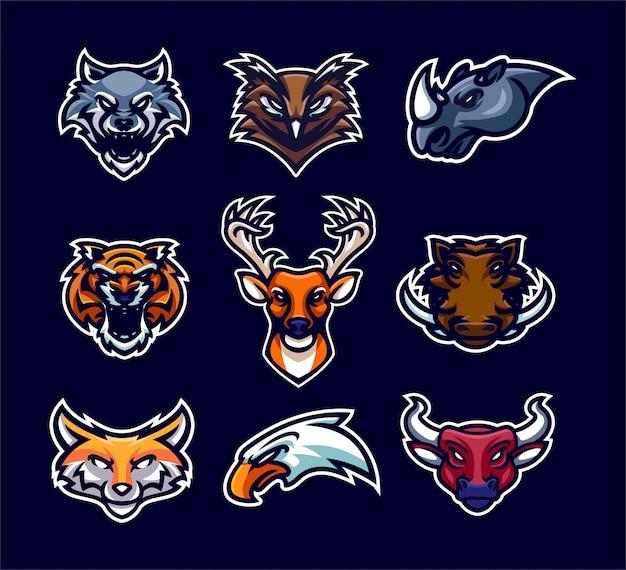 Coleção de logotipo animal mascote esporte premium