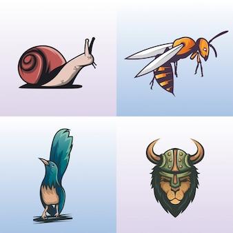 Coleção de logotipo animal moderno