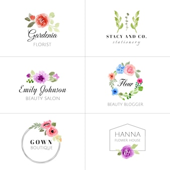 Coleção de logotipo aquarela floral