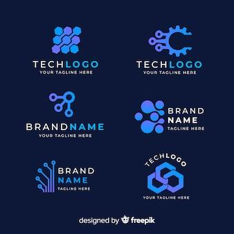 Coleção de logotipo azul tecnologia gradiente